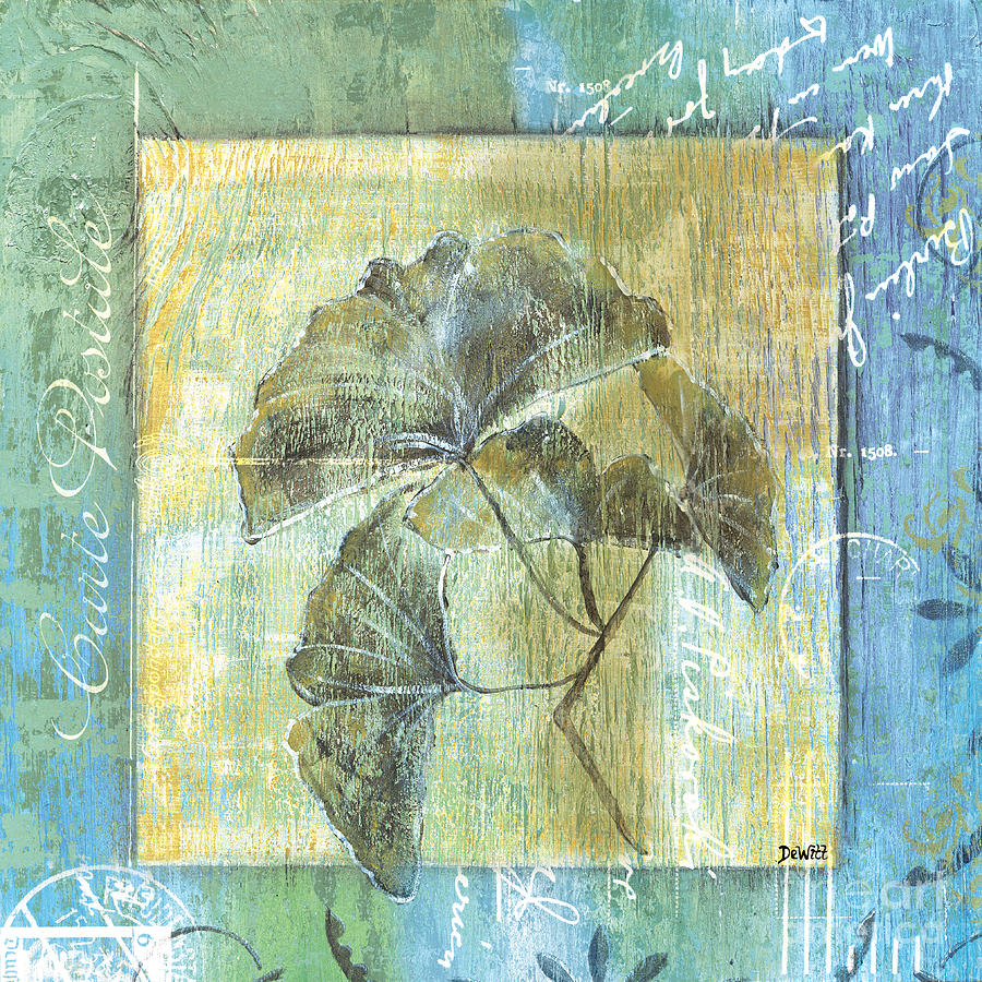 Spa Gingko Postcard  2 Painting  - Spa Gingko Postcard  2 Fine Art Print