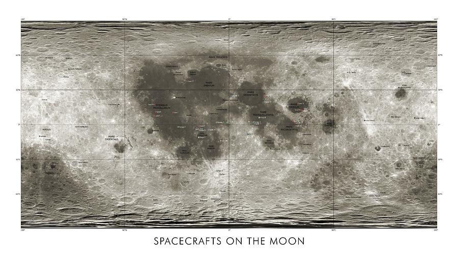 Spacecraft On The Moon, Lunar Map Photograph  - Spacecraft On The Moon, Lunar Map Fine Art Print