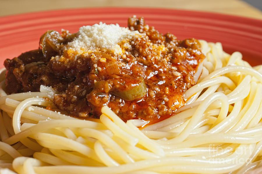 Spaghetti bolognese dish photograph