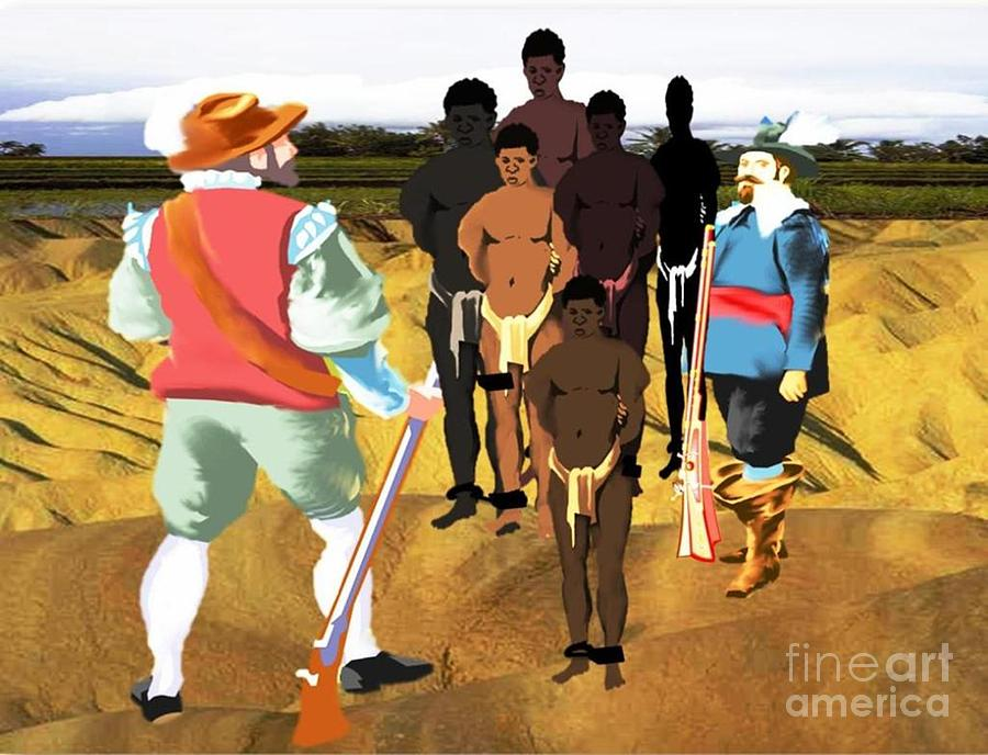 Black History Digital Art - Spaniards Capturing Slaves by Belinda Threeths