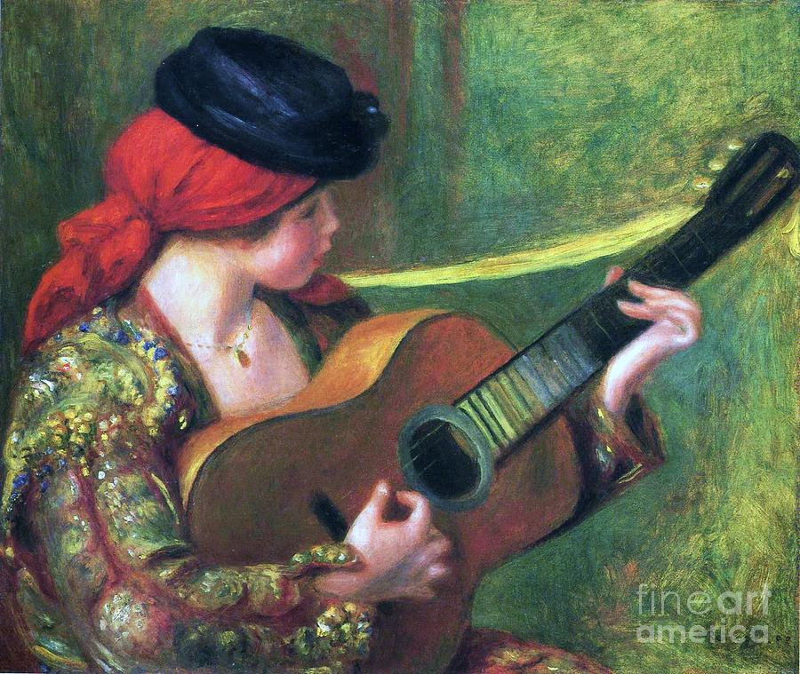 Spanish Girl With Guitar Painting  - Spanish Girl With Guitar Fine Art Print