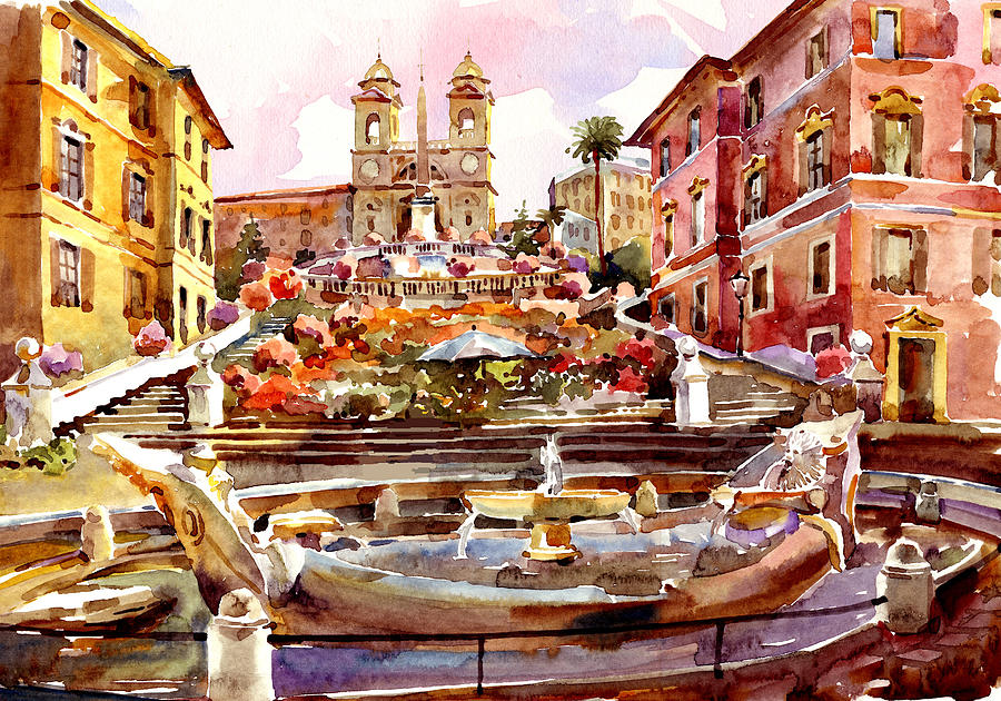 Spanish Steps Rome Painting  - Spanish Steps Rome Fine Art Print