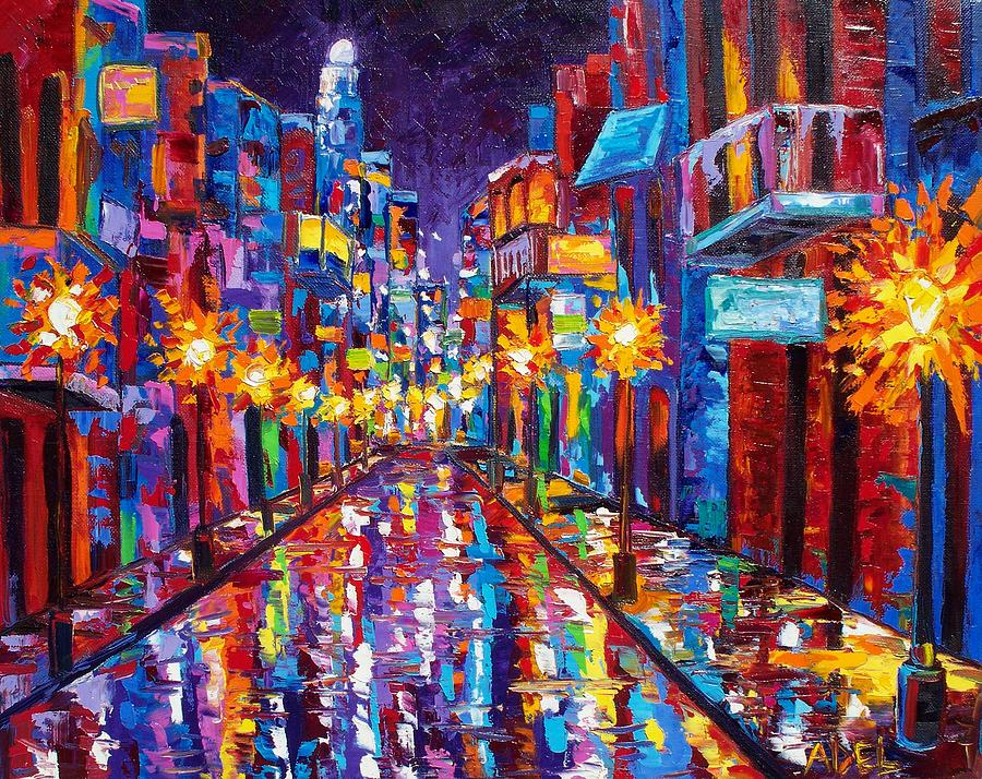 Sparkling Night On Bourbon Street Painting  - Sparkling Night On Bourbon Street Fine Art Print