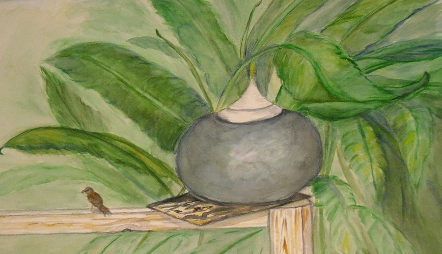Watercolor Of Ginger Leaves Painting - Sparrow And Ginger by Marian Hebert