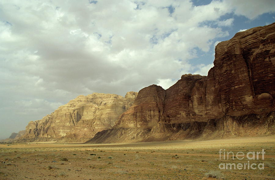 Sparse Tussock And Rock Formations In The Wadi Rum Desert Photograph