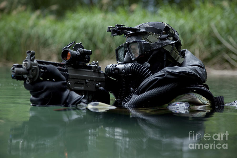 Special Forces Combat Diver Takes Photograph  - Special Forces Combat Diver Takes Fine Art Print