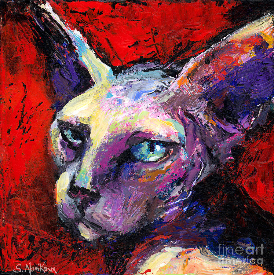 Sphynx Sphinx Cat Painting  Painting  - Sphynx Sphinx Cat Painting  Fine Art Print