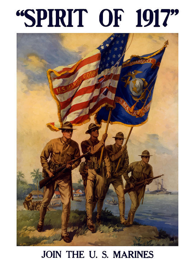 Spirit Of 1917 Join The Us Marines  Painting  - Spirit Of 1917 Join The Us Marines  Fine Art Print