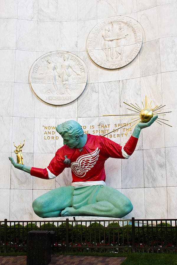 Spirit Of Detroit In Red Wing Jersey Photograph  - Spirit Of Detroit In Red Wing Jersey Fine Art Print