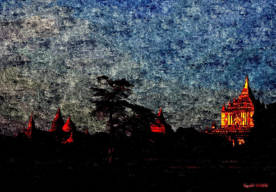 Spiritual Bagan Of Burma Painting  - Spiritual Bagan Of Burma Fine Art Print