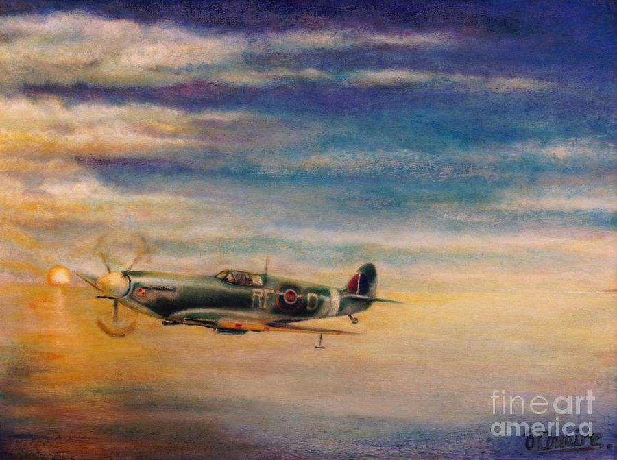 Spitfire In Flight Painting  - Spitfire In Flight Fine Art Print