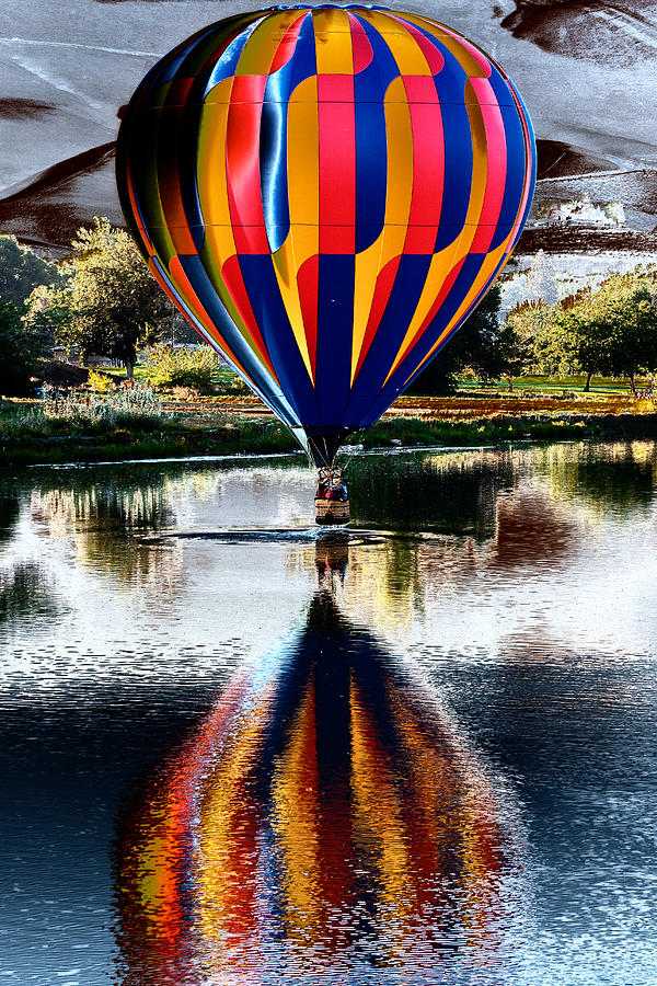 Splash And Dash With A Hot Air Balloon Photograph