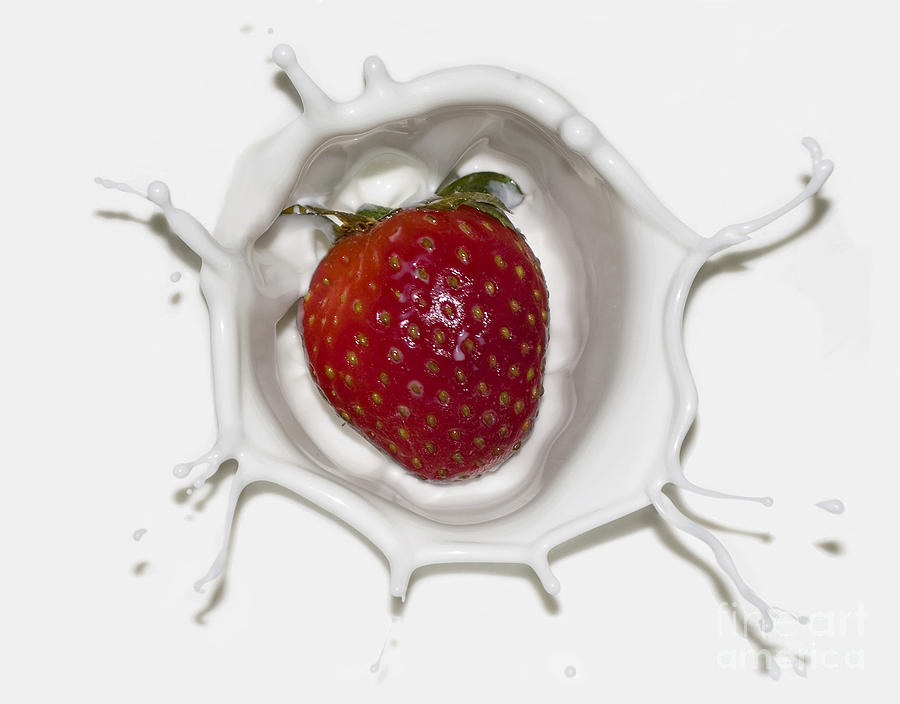 Splash Of Strawberry Photograph