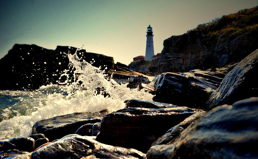 Nubble Lighthouse Photograph - Splash Over Portland by Emily Stauring