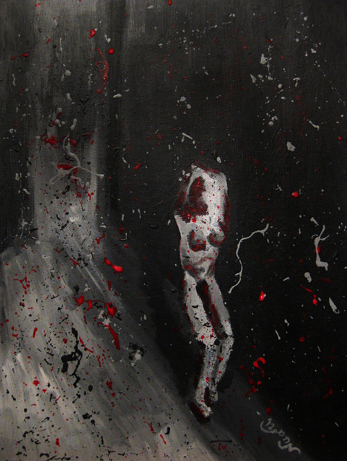 Splattered Nude Young Female In Gritty City Alley In Black And White And Red Painting  - Splattered Nude Young Female In Gritty City Alley In Black And White And Red Fine Art Print