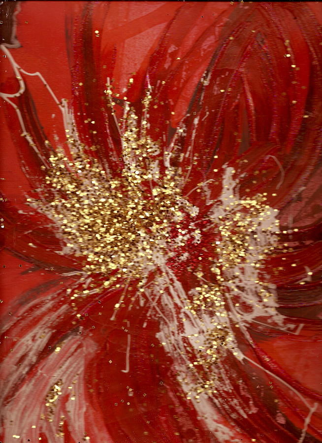 Splishy Splashy Red And Gold Mixed Media