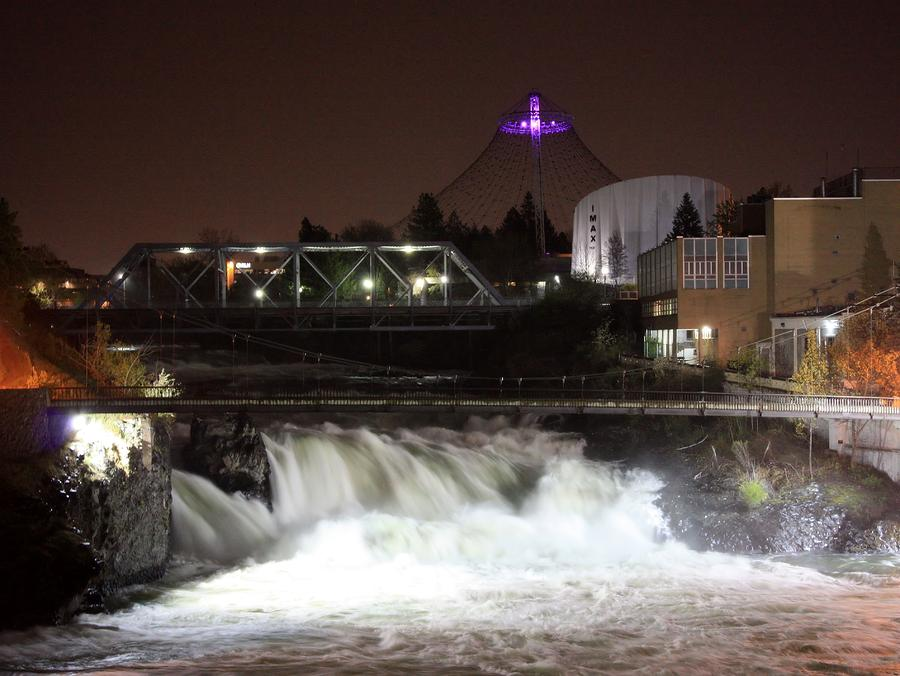 Spokane Falls Night Scene Photograph
