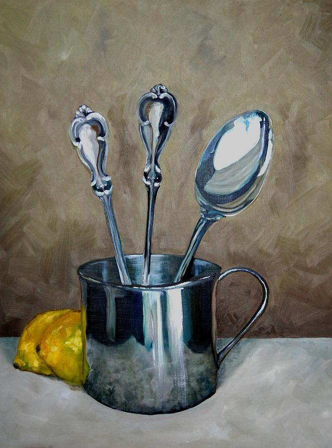 Spoons Lemons And A Baby Cup Painting  - Spoons Lemons And A Baby Cup Fine Art Print