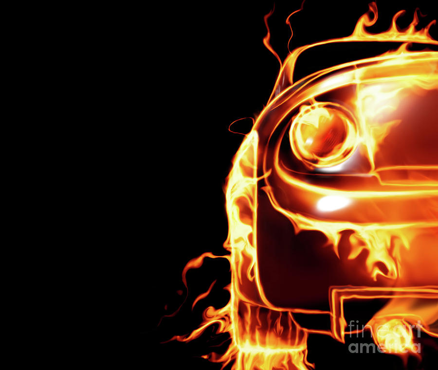 Sports Car In Flames Photograph  - Sports Car In Flames Fine Art Print