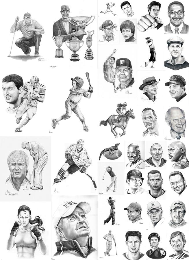Sports Figures Collage Drawing