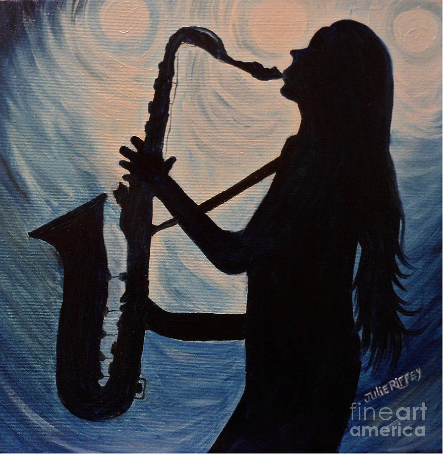 Jazz Painting - Spotlight On The Blues by Julie Brugh Riffey