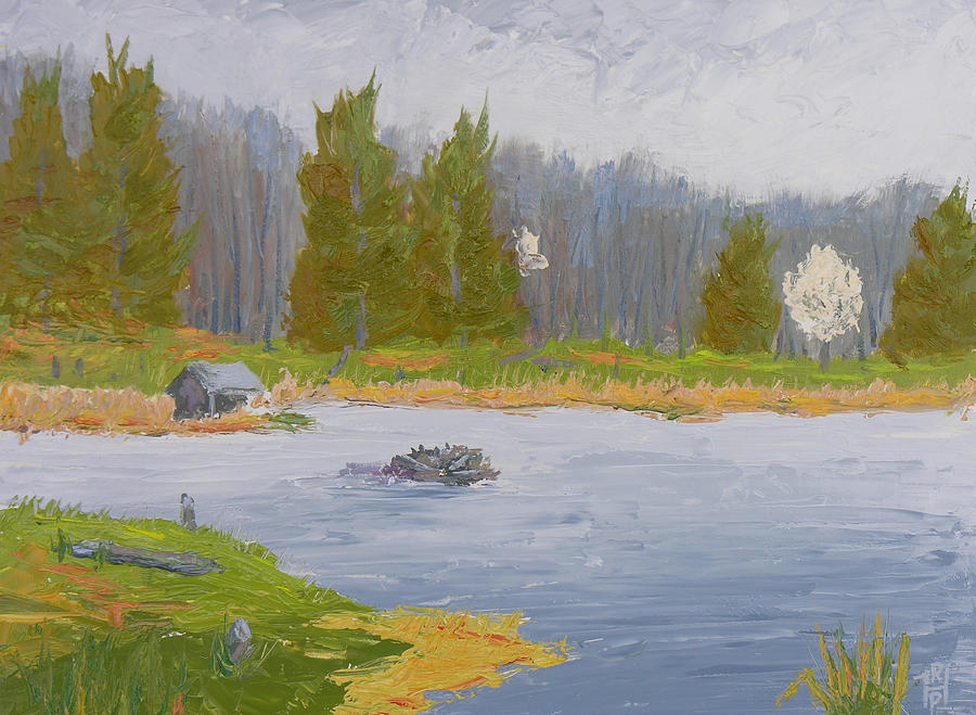 Spring Blossoms Beaver Pond Painting