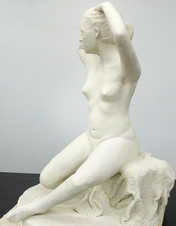 Sitting Nude Sculpture - Spring  by Eduardo Gomez