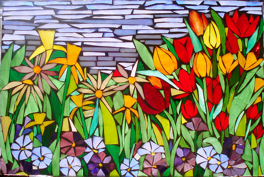 Spring Floral Mosaic Glass Art