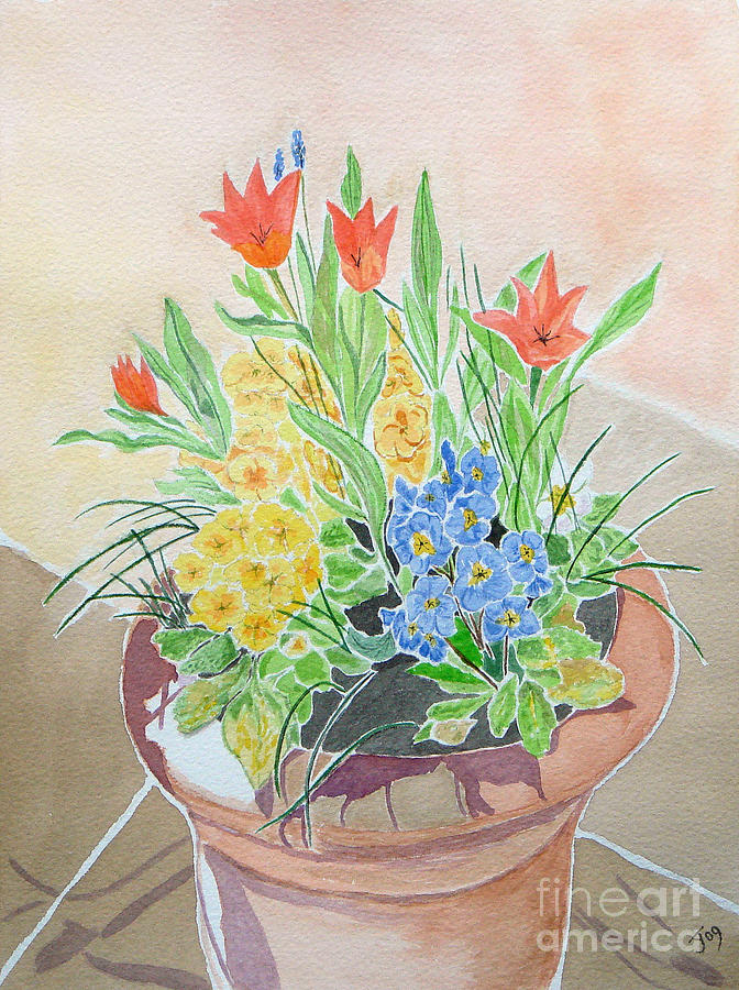 Spring Flowers In Pot Painting