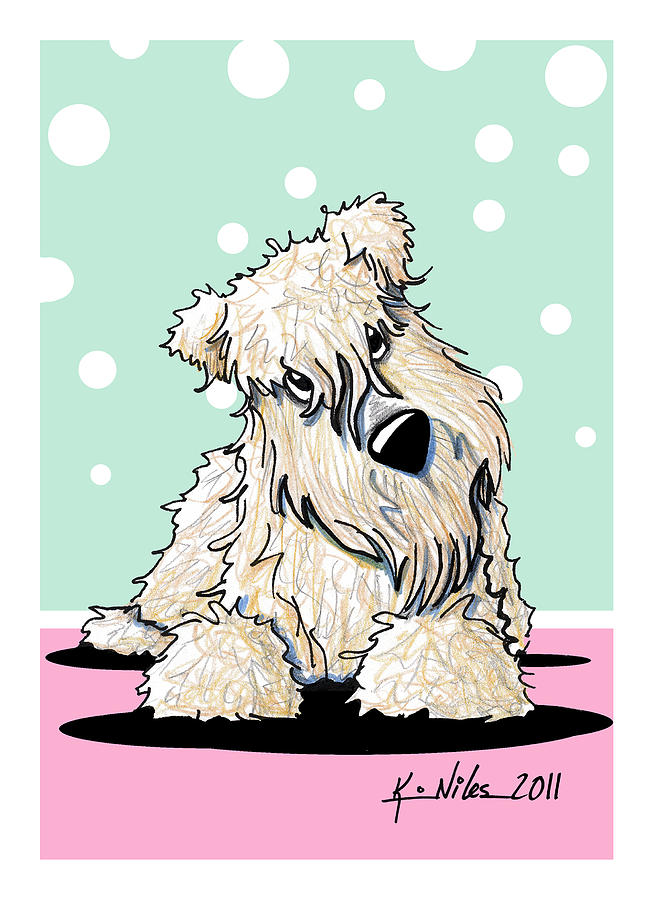 Springtime Curious Wheaten Terrier Drawing  - Springtime Curious Wheaten Terrier Fine Art Print