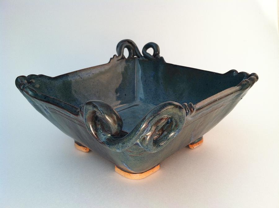Original Art Ceramic Art - Square Dish With Flourishes by Carolyn Coffey Wallace