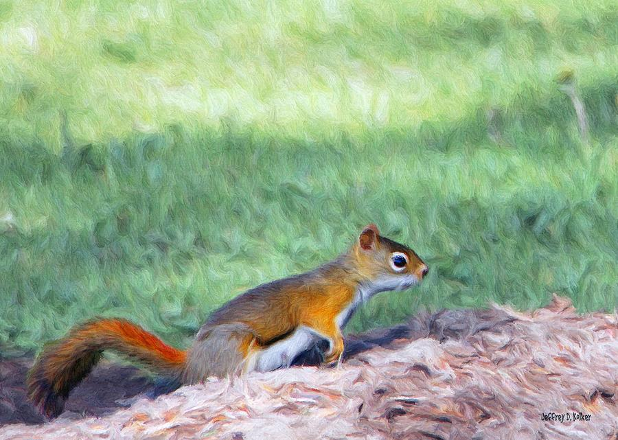Squirrel In The Park Painting  - Squirrel In The Park Fine Art Print