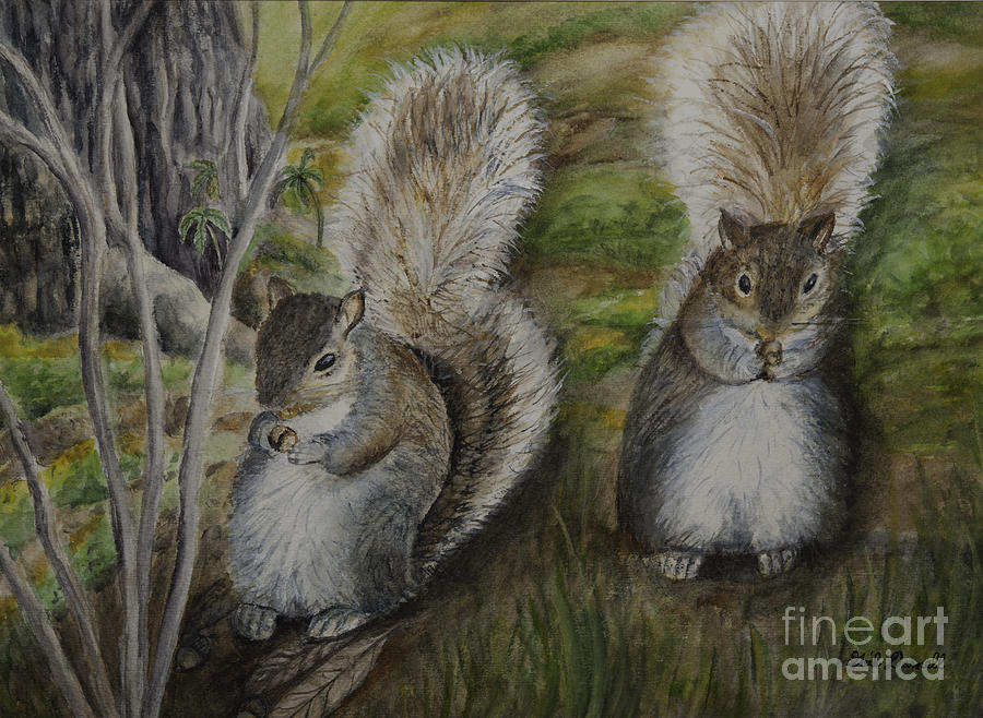 Squirrels Sharing Lunch Painting  - Squirrels Sharing Lunch Fine Art Print