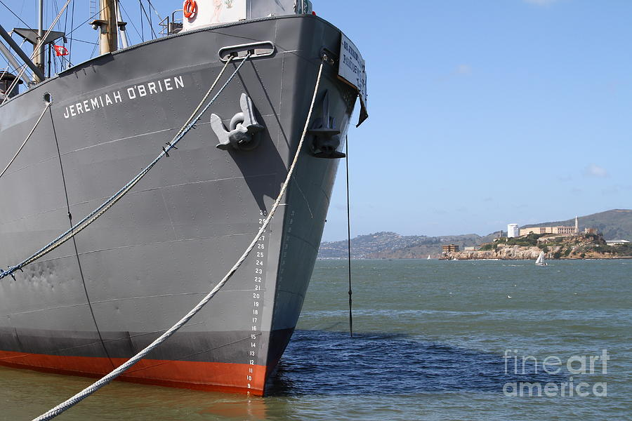 Ss Jeremiah Obrien Liberty Ship At Fishermans Wharf With Alcatraz In The Distance . Sf Ca . 7d14437 Photograph