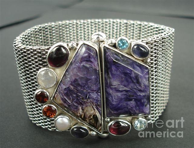 Ss Mesh Chain Bracelet With Semi Precious Stones With Bayonet Clasp Jewelry