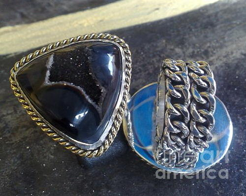Ss Ring With Indonesian Black Drusy Jewelry