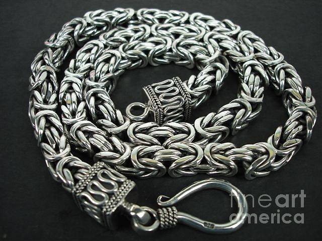 Ss Square Byzantine Chain Necklace 8mm With Hook Jewelry