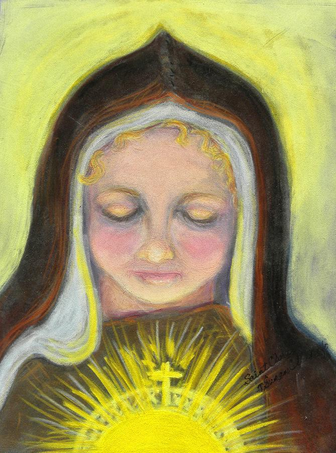 Saint Clare Of Assisi Painting - St. Clare Of Assisi All Aglow by Susan  Clark