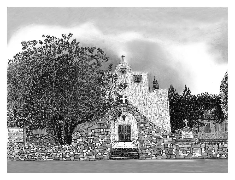 Saint Francis De Paula Franciscan Mission Drawing - St Franncis De Paula Mission by Jack Pumphrey