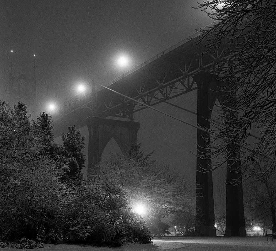 St. Johns Bridge On Snowy Evening Photograph  - St. Johns Bridge On Snowy Evening Fine Art Print