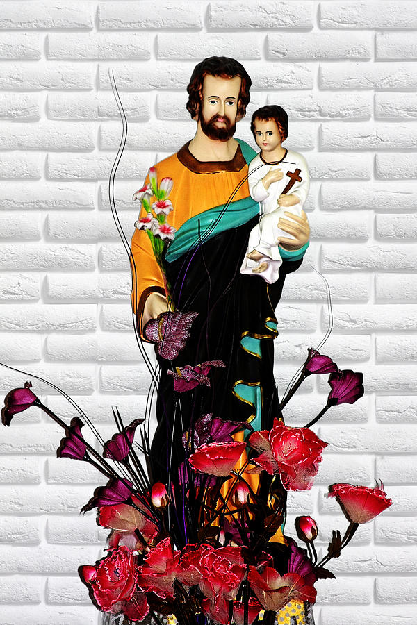 St Joseph Holding Baby Jesus - Catholic Church Qibao China Photograph  - St Joseph Holding Baby Jesus - Catholic Church Qibao China Fine Art Print
