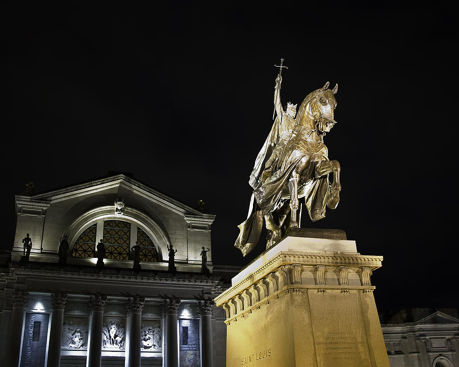 St Louis Art Museum With Statue Of Saint Louis At Night Photograph