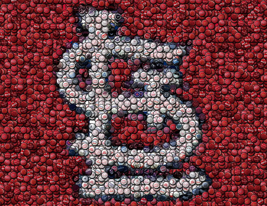 St. Louis Cardinals Bottle Cap Mosaic Mixed Media  - St. Louis Cardinals Bottle Cap Mosaic Fine Art Print
