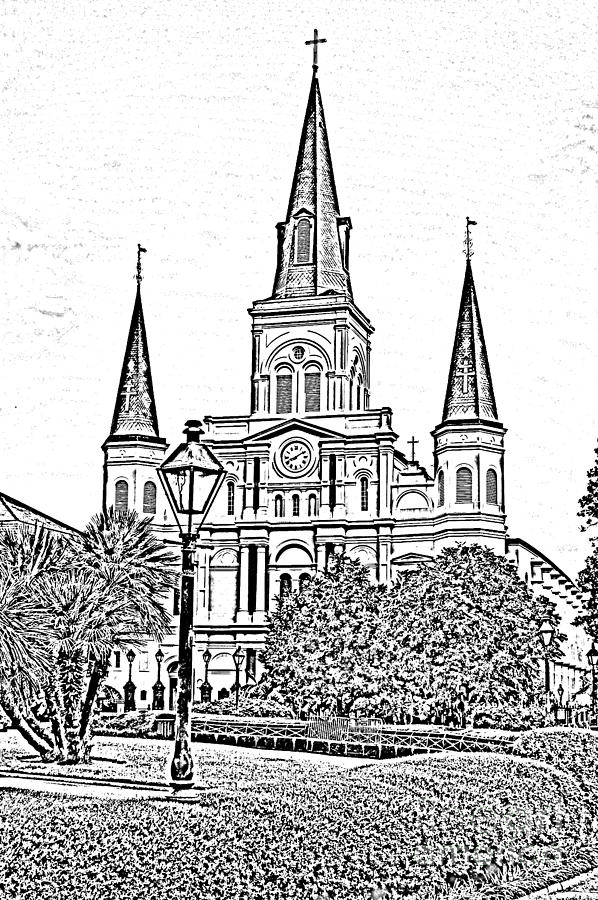 St Louis Cathedral Jackson Square French Quarter New Orleans Photocopy Digital Art  Digital Art  - St Louis Cathedral Jackson Square French Quarter New Orleans Photocopy Digital Art  Fine Art Print