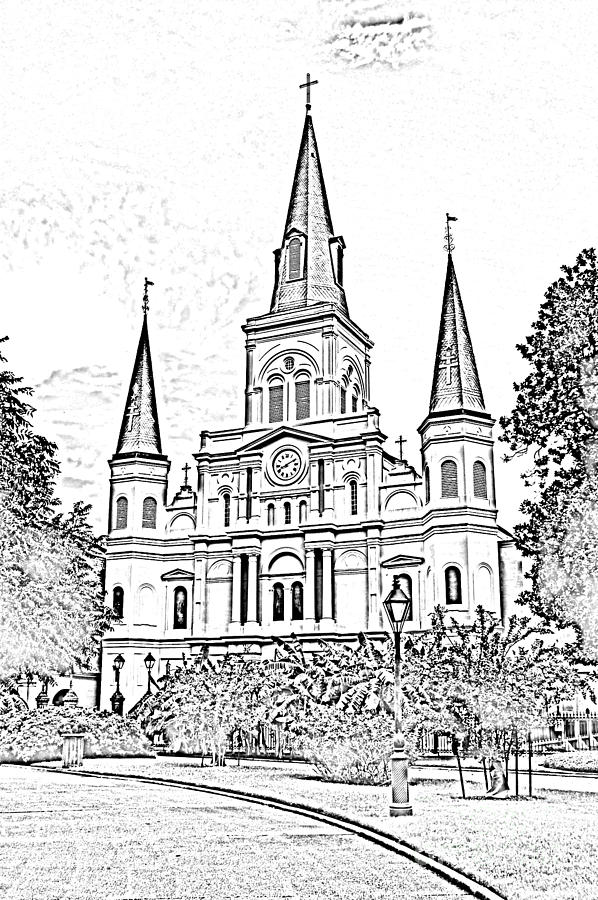 St Louis Cathedral Jackson Square French Quarter New Orleans Photocopy Digital Digital Art