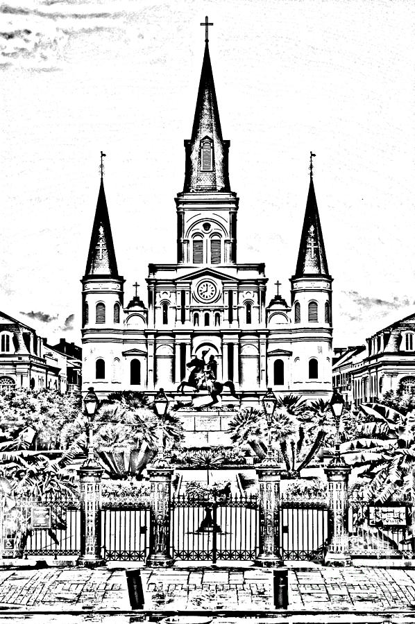 New Orleans Digital Art - St Louis Cathedral On Jackson Square In The French Quarter New Orleans Photocopy Digital Art by Shawn OBrien