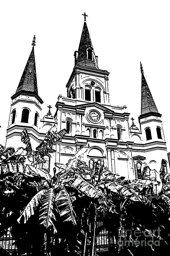 Travelpixpro New Orleans Digital Art - St Louis Cathedral Rising Above Palms Jackson Square New Orleans Stamp Digital Art by Shawn OBrien