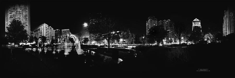 St. Louis City Garden Night Bw For Glass Photograph