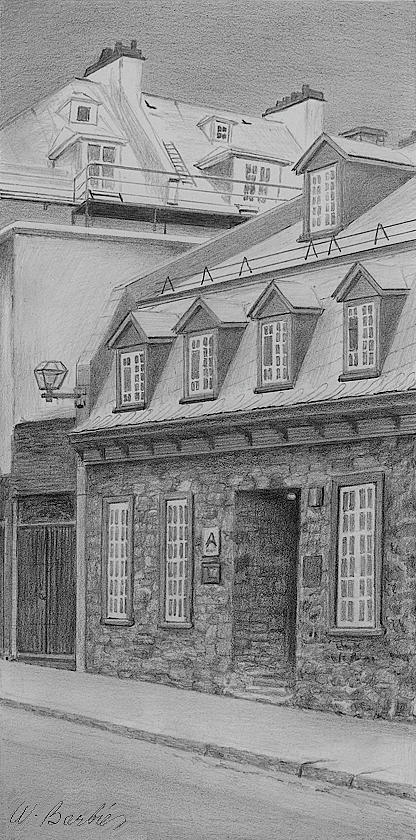 St-louis Street Quebec City Drawing  - St-louis Street Quebec City Fine Art Print