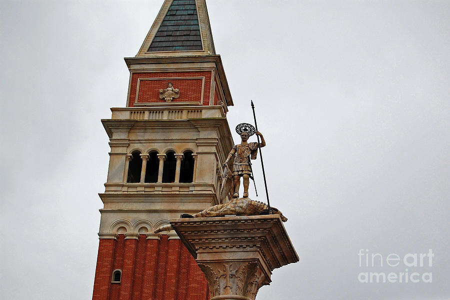 St Marks Bell Tower And Statue Italy Pavilion Epcot Walt Disney World Prints Photograph  - St Marks Bell Tower And Statue Italy Pavilion Epcot Walt Disney World Prints Fine Art Print